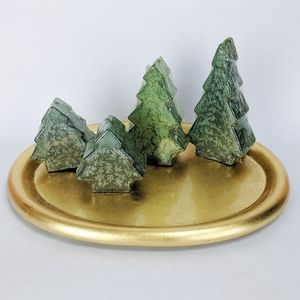 Four Christmas Tree Candle Garden on Gold Tray